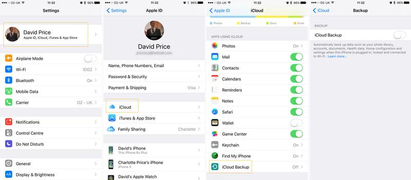 How to back up an iPhone or iPad: iCloud settings