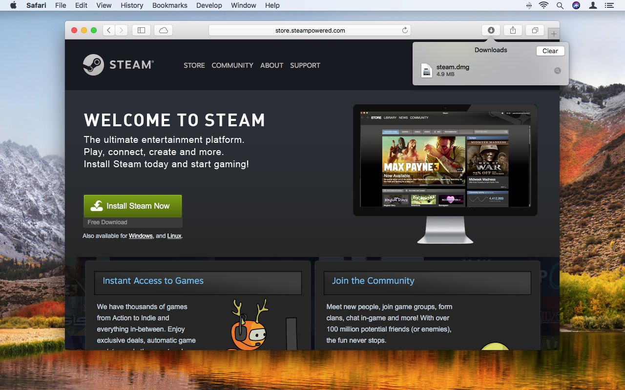 How to use Steam on Mac: Downloads button