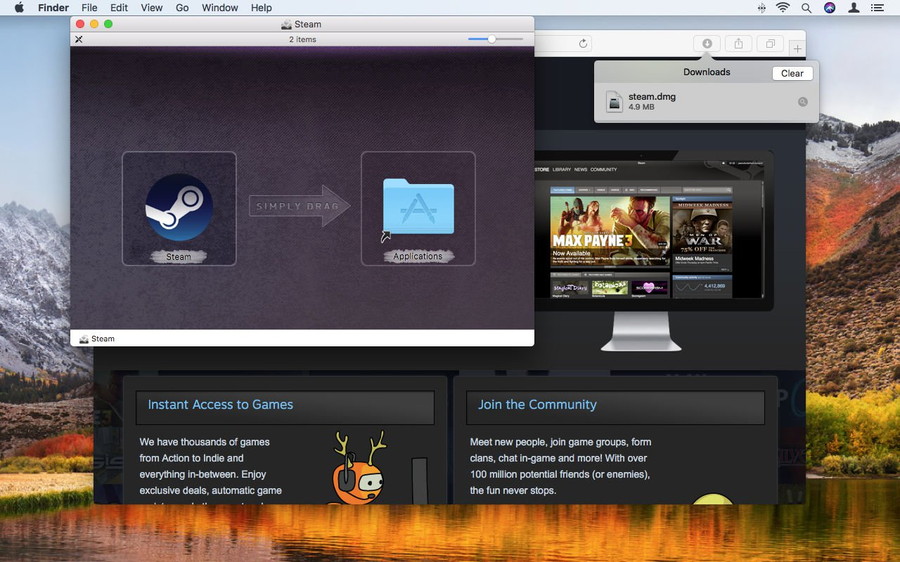 How to use Steam on Mac: Drag icon